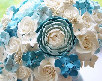 "Bridal Bouquet (8"") With Light Blue Peonies And Hydrangea, White Gardenias And Stephanotis Flowers"