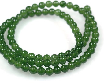 """16"""" Strand of AAA Rated Genuine (Natural) Nephrite Jade Beads (3mm-10mm)"""