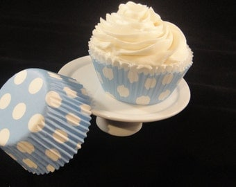 Soft Blue with White Polka Dots Cupcake Liners