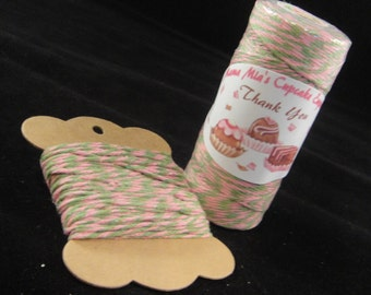 Green and Pink Bakers Twine - 8 ply, 100% cotton Bakers Twine