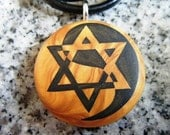 Star of David Yiln Yang hand carved on a polymer clay gold color background. Pendant comes with a FREE 3mm necklace