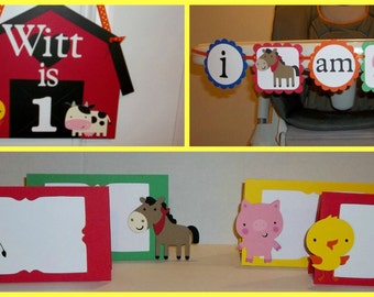 Happy Birthday Banner DELUXE package- Old Mcdonald had a farm, barn yard farm theme with pigs, horse, cow, chicken in primary colors