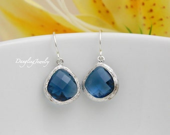 SILVER Sapphire Drop Earrings, September Birthstone Earrings, Bridal Party Gift, Bridesmaid Jewelry, Wedding Jewelry, Dangle Earring