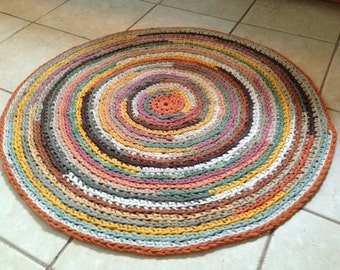 Fall Earth Tones Multicolored Round Rag Rug 40 inches T Shirt and Other Textiles Yarn Made to Order