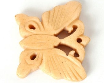 Carved-21x27mm Butterfly Focal Bead-Off White-Quantity 2