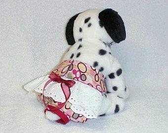 Dog Diaper Pantie Britches Doggie Pet Wrap For Female Custom Sizes xxSmall - Medium Retro Print