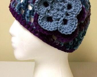 Blue Purple Flower Beanie
