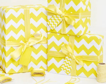 Recycled Yellow Chevron White Wrapping Paper