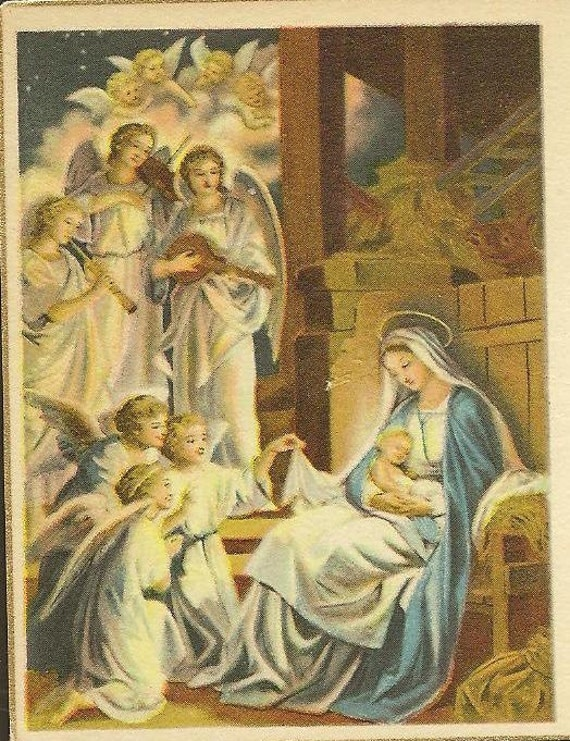 vintage christmas card nativity mary and jesus with angels