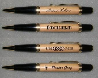 Hand Turned Custom Engraved Ink Pens