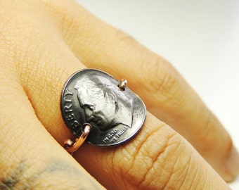 Coin Dime Ring  rusty ring, copper wire hadmade, friendship rings