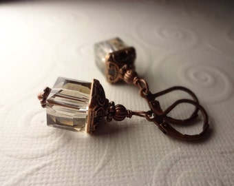 Gray and Copper Cube Crystal Dangle Earrings