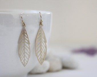 Leaf Earrings. Matte Gold. Statement Earrings. Everyday Wear. Modern Chic. Gift For Her (SER-59)