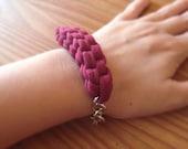 Burgundy Bracelet, Nautical Bracelet, T-Shirt Yarn Bracelet, Fabric Bracelet, Bohemian Bracelet, Bohemian Jewelry