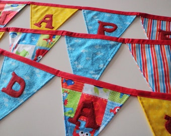 Happy Birthday Fabric Banner for Ocean Themed Party Decor - Red, Blue, Yellow