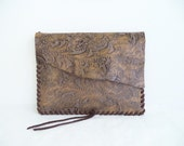 leather ipad cover sleeve  in brown gold and taupe.  ipad 1 2 3  with hand whip stitching by Tuscada. Ready to ship.