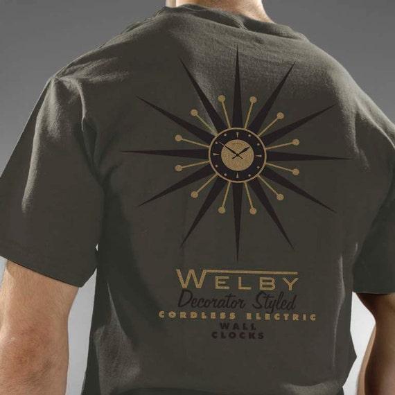 Vintage Starburst Wall Clock T-Shirt - Olive w/ Black & Copper Shimmer Metallic - xl, 2xl, 3xl