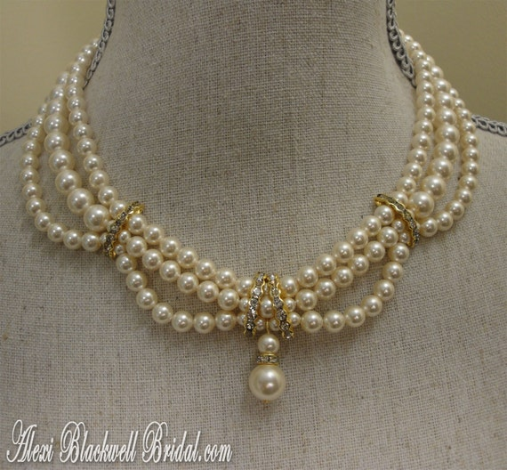 Vintage Pearl Choker Necklace: Victorian Pearl Necklace Bracelet Earrings By