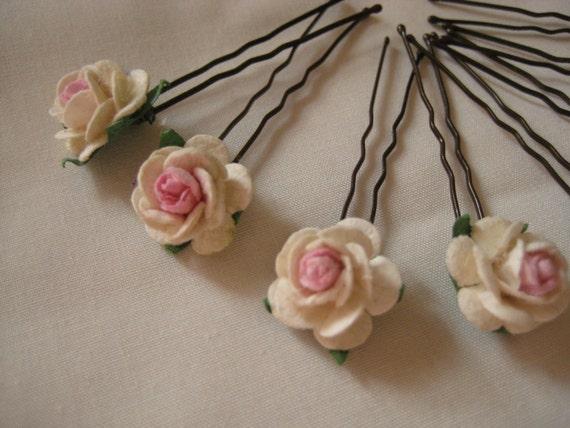 Pink/Ivory Rose Hairpins x 8. Wedding, Bridal, Regency, Victorian