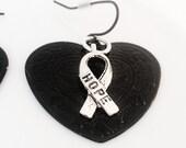 Ribbon of Hope Earrings Heart Black Metal Women Jewelry Teen Girl Jewelry