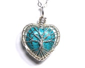Baby Tree Love. A Sterling Silver Heart Shaped Turquoise Stone Tree of Life Necklace