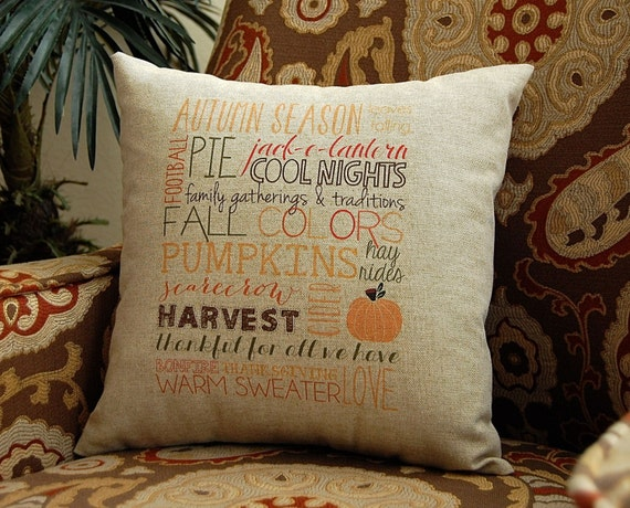 Fall Pillow Subway Art Decorative Throw Pillow by FestiveHomeDecor