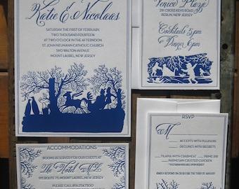 Winter Romance Elegant & Unique Letterpress Wedding Invitation Suite