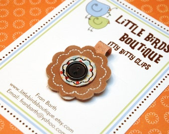 Baby Toddler Hair Clips/Bows -  Orange Brown Black Button Fabric Flower