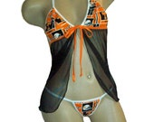 NCAA Tennessee Vols Volunteers Lingerie Negligee Babydoll Sexy Teddy Set with Matching G-String Thong Panty