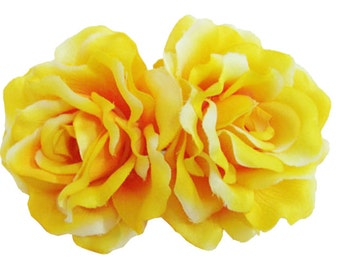 Yellow Silk Rose flower Barrette Hair Clip