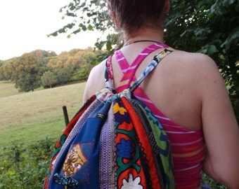 Bagpack with antique Suzani embroidery