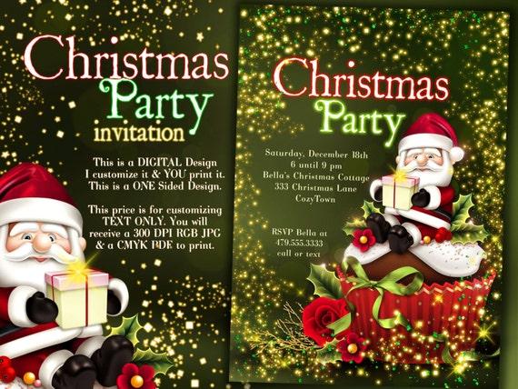 santa weihnachten einladung weihnachten-party-einladungen, Einladungen