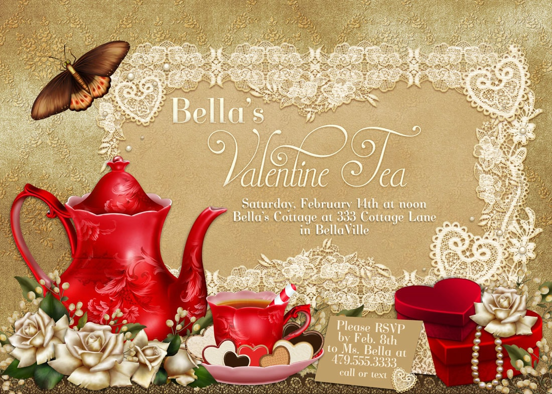 Kitchen Tea Party Invitation Valentine Tea Party Invitation Valentines Day Party Tea