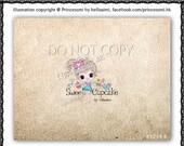 Custom Premade Logo Design - sketch hand drawn girl cupcake bird logo photography business boutique logo by princess mi logo1214-6
