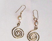 Long Hammered Gold and Pearl Celtic Spiral Earrings