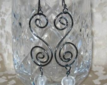 Hematite Wire  Drop Earrings Celtic Spirals