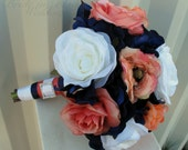Wedding bouquet coral navy white rose bridesmaid bouquets