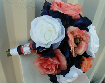 Wedding bouquet, Coral navy and white rose bouquet, Bridesmaid bouquets