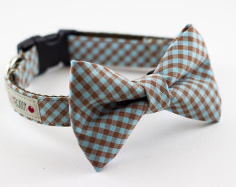 Blue Brown Gingham Bowtie Dog Collar