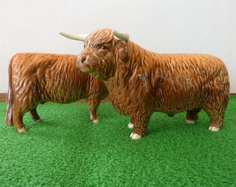 Beswick Highland Bull and Cow models 2008 and 1740