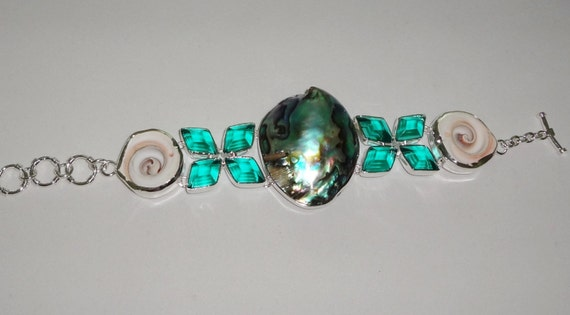 """CLEARANCE, Abalone Shell, Royal Shiva Shell, green amethyst, solid sterling silver Bracelet, 48 grams, 8"""" adjustable"""