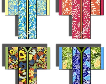Printable  Digital Collage Sheet -- Kimonos -- Original Designs -- Japanese -- Asian Art -- Embellishments -- Card Making  CS 23