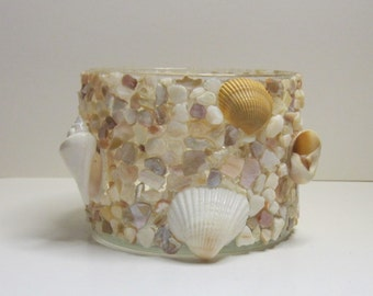 Shell seashell candle holder or vase FREE SHIPPING
