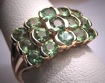 Vintage Peridot Ring 3 Row Band Estate Gold Wedding