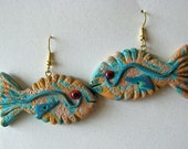 Special Order for Gloria: Fish Earrings in Southwestern Aqua and Orange Swirly Polymer Clay
