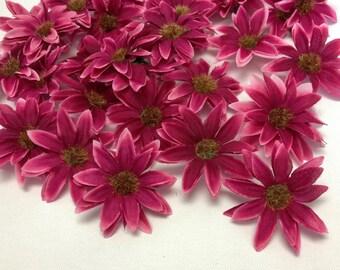 Artificial Flowers - 30 Artificial FUCHSIA Daisies - Silk Flowers for Hair Accessories