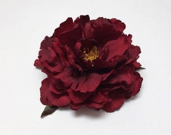 Silk Flowers -  One Fabulous Jumbo Peony in Deep Red - 5.5 to 6 Inches - Artificial Flowers