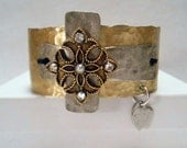 Junk Gypsy Style Hammered Cuff with Gold and Silver Crosses and Vintage Rhinestones-Rustic, Country, Rockabilly, Cuff Bracelet