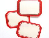 15 Vintage Red Border Dennison Labels