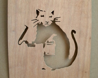 Banksy Paint Roller Rat  Wooden Stencil